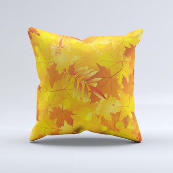 Abstract Fall Leaves Ink-Fuzed Decorative Throw Pillow