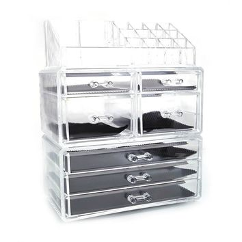 Plastic Cosmetics Storage Rack 4 Small Drawers and 3 Larger Drawers Transparent