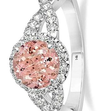 CERTIFIED 1.27ct 14k White Gold Morganite and Diamond Twisted Engagement Ring