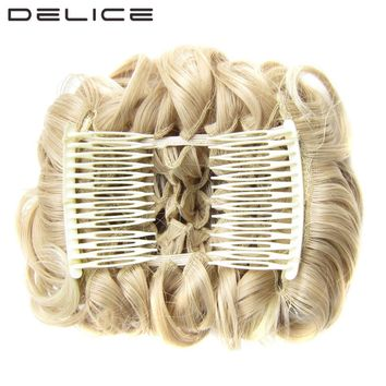 [DELICE] Women's Elastic Net Curly Chignon With Two Plastic Combs Updo Cover Synthetic Hair 100g/pc