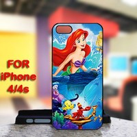Beautiful Ariel Little Mermaid For IPhone 4 or 4S Black Case Cover