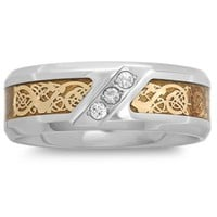 Stainless Steel .10 cttw Diamond Yellow Ion-Plated Celtic Inlay Men's Wedding Band