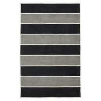 Capel Rugby Stripe Rug, Black/Gray