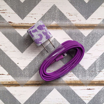 New Super Cute Purple Glitter Cheetah Print USB Wall Connector + 10ft Purple iPhone 5/5s Cable Cord