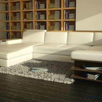 Beauterful White Sofa with real leather Free Shipping Modern Sofa Set with bookshelf  U Shaped practical living room Settee sofa