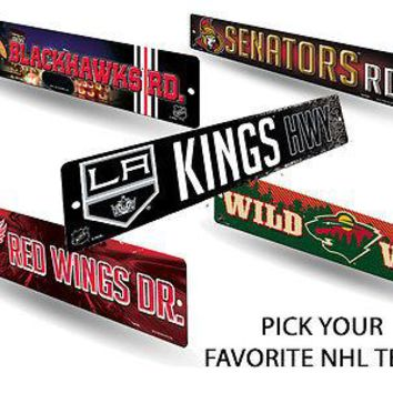"""NHL Teams - Officially Licensed 16"""" Hockey Street Sign Man Cave Wall Decor"""
