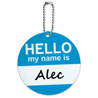Alec Hello My Name Is Round ID Card Luggage Tag