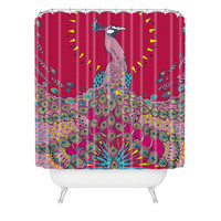 Geronimo Studio Red Peacock Shower Curtain