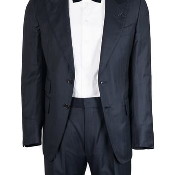 Tom Ford Navy Wool Blend Pinstripe Buckley Base Two Piece Suit