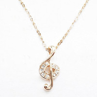 Golden Music Symbol Diamond Necklace