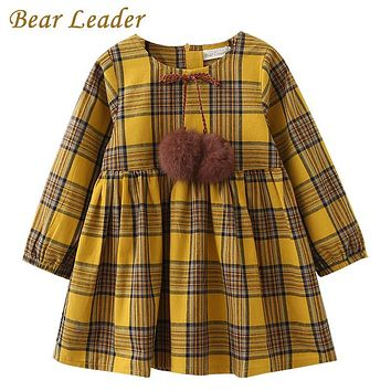 Bear Leader Girls Dress 2018 New Spring Brand Girls Clothes England Style Printing Bow Design Baby Yellow Girls Dress For 3-7Y