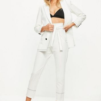 Missguided - White Contrast Stitch Detail Belted Suit Trousers