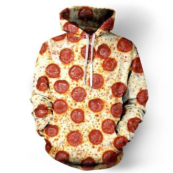 Pepperoni Pizza All Over Print Hoodie Sweater