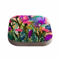 "Ebi Emporium ""Floral Insurgence 3"" Green Pink Coasters (Set of 4)"