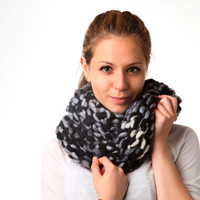 Chunky infinity scarf. Black and white knit cowl.
