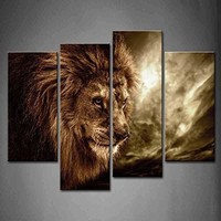 Lion with Mane 4-Panel Wall Art Cavnas Picture Print with Wooden Frame