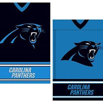 "NFL Licensed Carolina Panthers Outdoor Decorative Suede 12.5"" x 18"" Dual Sided Team Je"