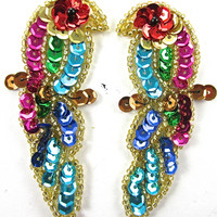 "Parrot Pair with MultiColored Sequins and Beads on Branch 3"" x 1.25"""