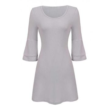O-Neck Long Trumpet Sleeve Solid Dress