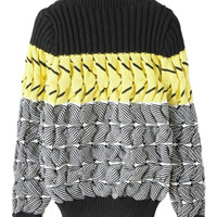 Color Block Cut Out Detail Stripe Knitted Jumper