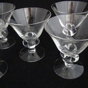 Lovely beautifully Designed Set of Five Vintage Cordial/Drink Glasses or Dessert Glasses-FREE Shipping!