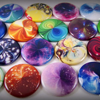 One Inch Marble Flat Back Buttons, Pins, or Magnets 12ct.