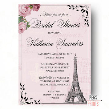 Parisian Bridal Shower Invitation - Paris Bridal Shower Invitation - PRINTABLE French Bridal Shower Invitation - Pink Paris Shower Invites