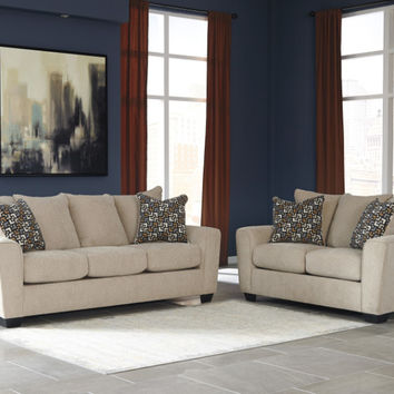 Ashley Furniture 57003-38-35 2 pc Wixon collection putty fabric upholstered sofa and love seat set with squared arms
