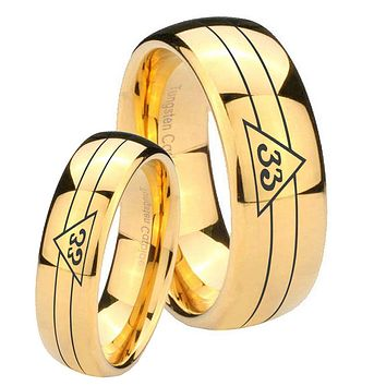 Bride and Groom Masonic 32 Duo Line Freemason Dome Gold Tungsten Carbide Men's Wedding Ring Set