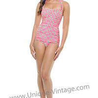 NEW! Vintage Inspired Swimsuit 50's Red & White Print Gingham Bathing Suit - Unique Vintage - Bridesmaid & Wedding Dresses