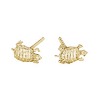 Yellow Gold Tiny Turtle Stud Earrings by Anthony Lent Love Adorned