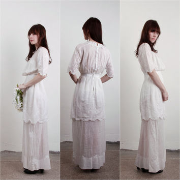 1910s Edwardian Gown . Antique Dress . TITANIC . Embroidery and Lace . Pin Tucks . Cotton . Bridal Attire