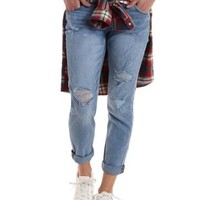 Med Wash Denim Destroyed & Cropped Boyfriend Jeans by Charlotte Russe