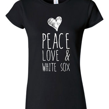 Peace Love And White Sox Fan T Shirt Great Gift ideas Mothers Day Gift for Mom Womens And Unisex Style Baseball southsiders T Shirt