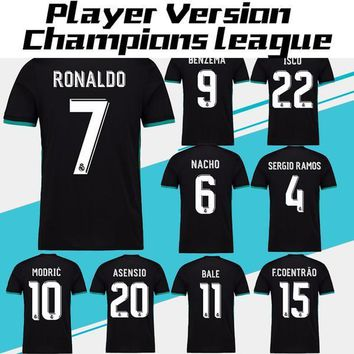 2018 Player Version Champions League Real Madrid Away black Soccer Jersey 17/18 RONALD