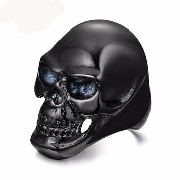 Gothic Men's Biker Titanium Steel Ring Fashion Black Skull Finger Rings