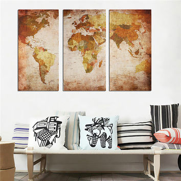 Retro World Map Frameless Picture Canvas Print Wall Art Painting Bedroom Living Room Home Decor