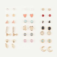 FULL TILT 20 Pairs Heart/Gem Earrings