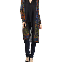 Blue & Black Paisley Duster - Women