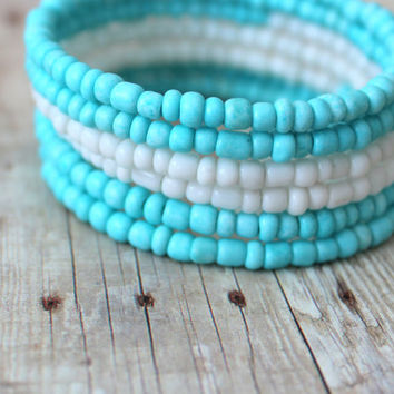 O C E A N - Bright Turquoise Blue and White, Glass Seed Bead, Silver Plated Memory Wire Wrap Bangle Bracelet