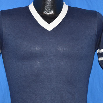 70s Deadstock Blue & White Striped V-Neck Jersey t-shirt Extra-Small