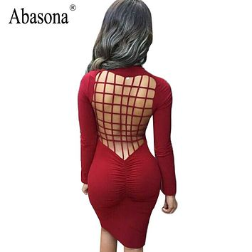 Vestidos Sexy Club Stretch Laced Back Cage Winter Party Dresses Black Night Wear Criss Cross Warm Cotton Bandage Bodycon Dress