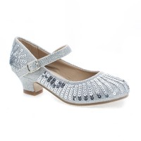 Quincy09 Silver Glitter By Sully's, Metallic Children's Girl Sparkling Mesh And Sequin Heeled Sandal