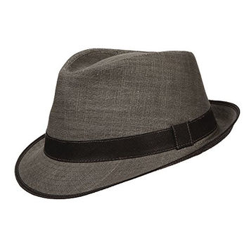 Stetson Cotton Fedora with Contrast Trim Hat (M, Grey)