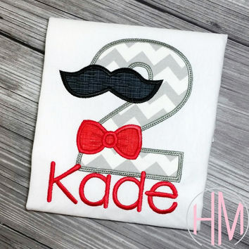 Mustache Themed Birthday Applique Shirt
