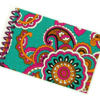 SPARKLY PAISLEY FLOWER design recycled spiral bound journal notebook