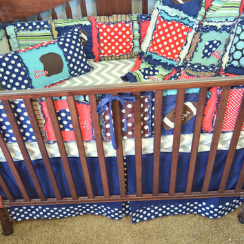 Custom Crib Set, Vintage Football Themed With Rag Quilt, Bumpers, Skirt, Sheet, and Throw Pillow