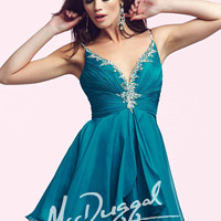 Mac Duggal 64892 - Peacock Beaded V-Neck Homecoming Dresses Online
