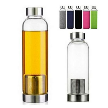 High Temperature Resistant Glass Sport Water Bottle With Tea Filter Infuser Protective Bag