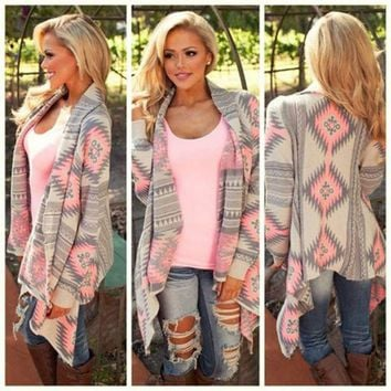 Printed Long Sleeved Knit Cardigan Jacket